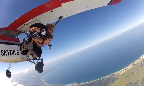 skydiving out of airplane on Cape Cod