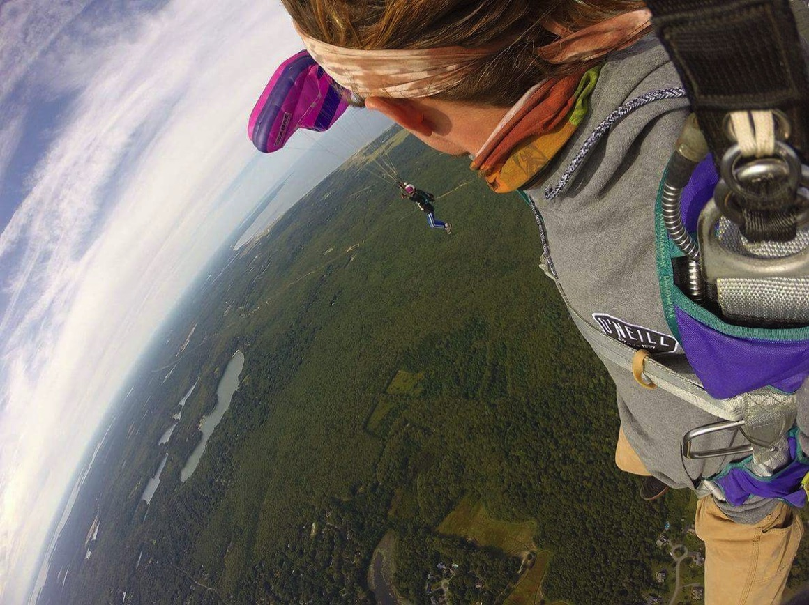 skydivers over Cape Cod